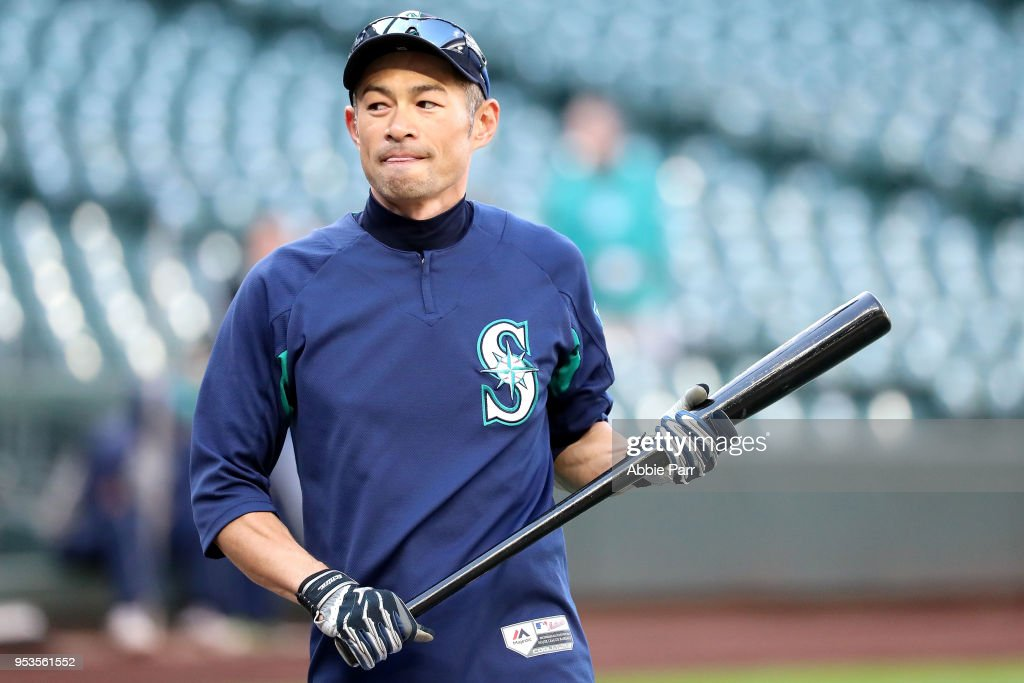 Ichiro Suzuki #51 of the Seattle Mariners looks on during batting practice prior to taking on the Oakland Athletics during their game at Safeco Field on May 1, 2018 in Seattle, Washington.