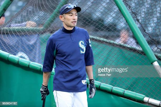 Ichiro Suzuki of the Seattle Mariners looks on during batting practice prior to taking on the Los Angeles Angels at Safeco Field on May 4 2018 in...