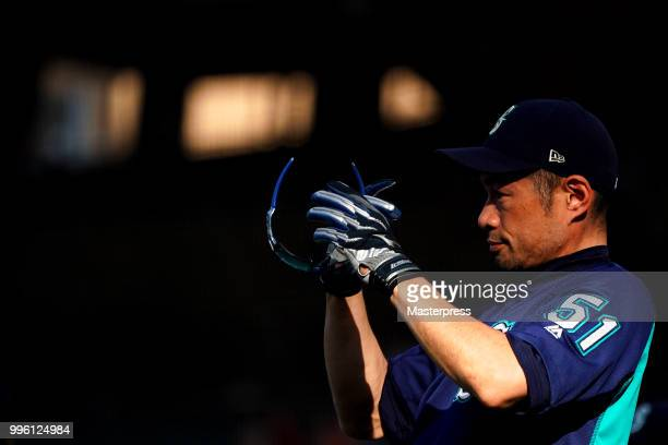 Ichiro Suzuki of the Seattle Mariners looks on during the MLB game against the Los Angeles Angels at Angel Stadium on July 10 2018 in Anaheim...