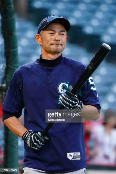 Ichiro Suzuki of the Seattle Mariners looks on during the MLB game against the Los Angeles Angels at Angel Stadium on July 11 2018 in Anaheim...