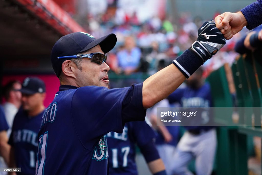 Ichiro Suzuki of the Seattle Mariners looks on during the MLB game against the Los Angeles Angels at Angel Stadium on July 11, 2018 in Anaheim, California.