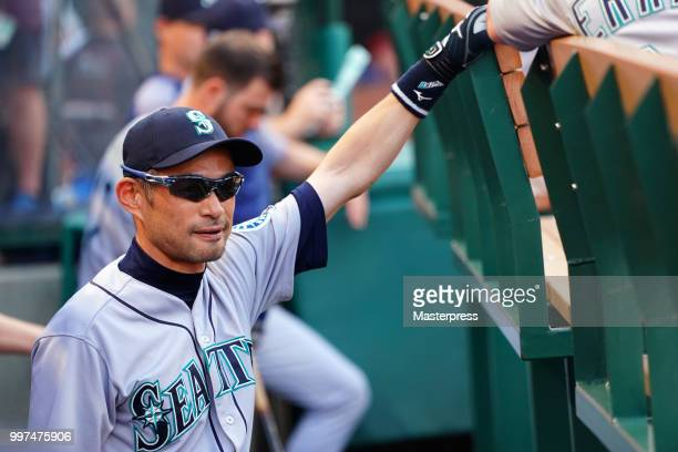 Ichiro Suzuki of the Seattle Mariners looks on during the MLB game against the Los Angeles Angels at Angel Stadium on July 12 2018 in Anaheim...