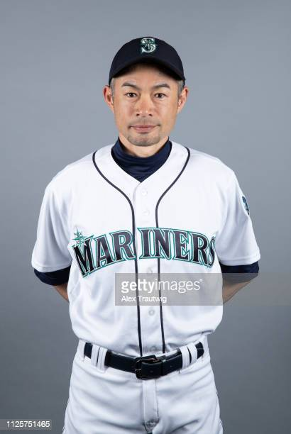 Ichiro Suzuki of the Seattle Mariners poses during Photo Day on Monday February 18 2019 at Peoria Sports Complex in Peoria Arizona