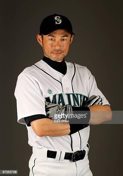 Ichiro Suzuki of the Seattle Mariners poses during photo media day at the Mariners spring training complex on February 25, 2010 in Peoria, Arizona.