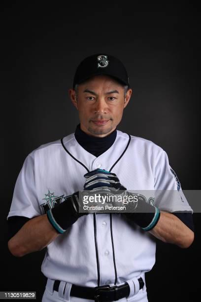 Ichiro Suzuki of the Seattle Mariners poses for a portrait during photo day at Peoria Stadium on February 18 2019 in Peoria Arizona