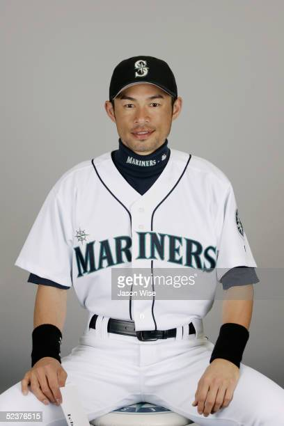Ichiro Suzuki of the Seattle Mariners poses for a portrait during photo day at Peoria Sports Complex on February 27 2005 in Peoria Arizona