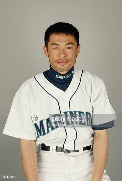 Ichiro Suzuki of the Seattle Mariners poses for a portrait during the 2004 MLB Spring Training Photo Day at Peoria Stadium on February 27 2004 in...