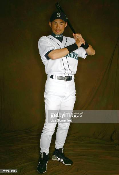 Ichiro Suzuki of the Seattle Mariners poses for a portrait during the Seattle Mariners Photo Day on February 27 2005 at Peoria Stadium in Peoria...