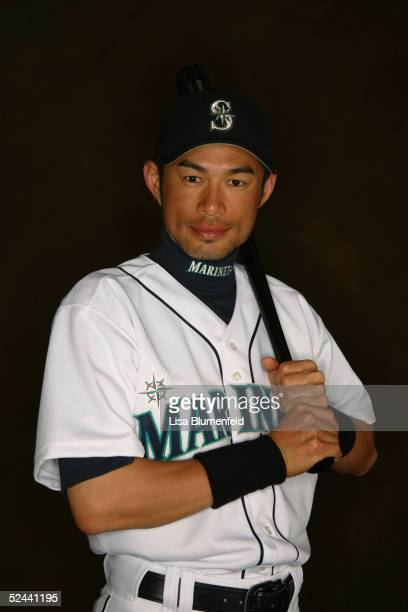 Ichiro Suzuki of the Seattle Mariners poses for a portrait during the Seattle Mariners Photo Day at Peoria Stadium on February 27 2005 in Peoria...
