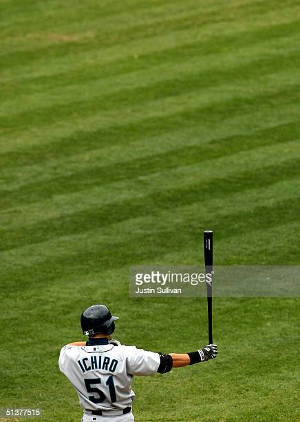 Ichiro Suzuki of the Seattle Mariners prepares to bat against the Oakland Athletics September 30 2004 at the Network Associates Coliseum in Oakland...