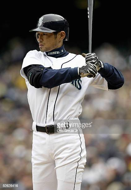 Ichiro Suzuki of the Seattle Mariners prepares to bat during the game with the Texas Rangers on April 10 2005 at Safeco Field in Seattle Washington...