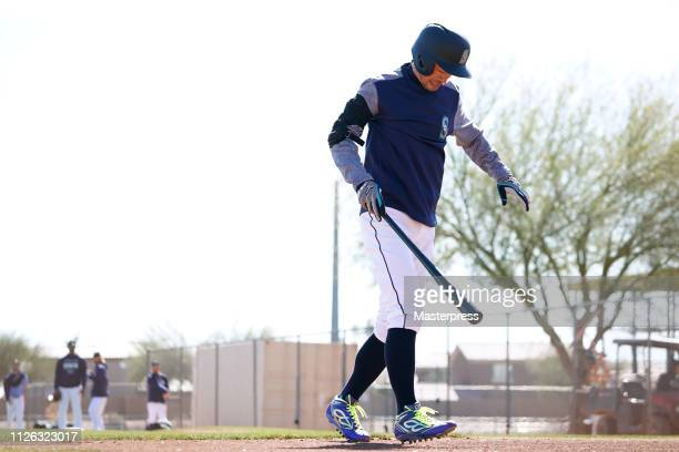 Ichiro Suzuki of the Seattle Mariners reacts after being hit by a pitch during the Seattle Mariners Spring Training on February 20 2019 in Peoria...