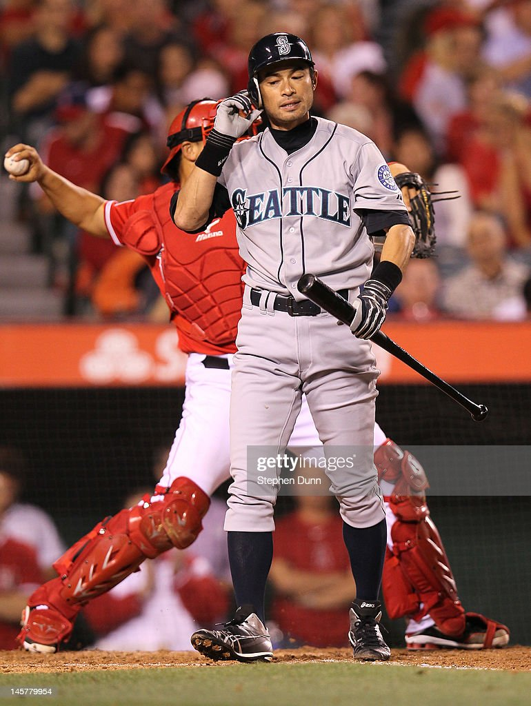 Ichiro Suzuki #51 of the Seattle Mariners reacts after striking out in the sixth inning against the Los Angeles Angels of Anaheim at Angel Stadium of Anaheim on June 5, 2012 in Anaheim, California.