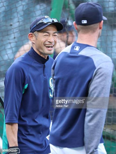 Ichiro Suzuki of the Seattle Mariners reacts during batting practice prior to taking on the Los Angeles Angels at Safeco Field on May 4 2018 in...