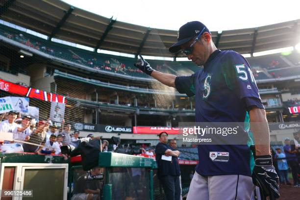 Ichiro Suzuki of the Seattle Mariners reacts during the MLB game against the Los Angeles Angels at Angel Stadium on July 10 2018 in Anaheim California