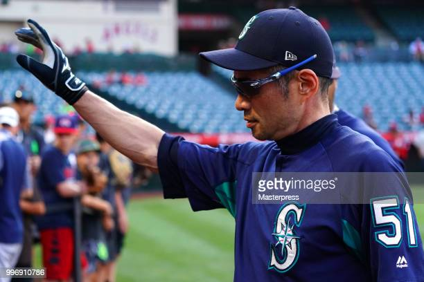 Ichiro Suzuki of the Seattle Mariners reacts during the MLB game against the Los Angeles Angels at Angel Stadium on July 11 2018 in Anaheim California