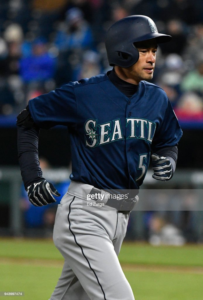 Ichiro Suzuki #51 of the Seattle Mariners runs back to the dugout after grounding out in the third inning against the Kansas City Royals at Kauffman Stadium on April 9, 2018 in Kansas City, Missouri.