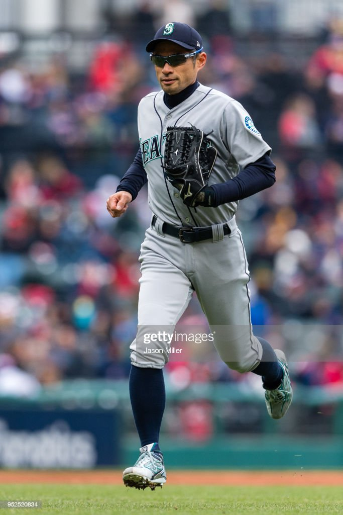 Ichiro Suzuki #51 of the Seattle Mariners runs in from left field after the end of the third inning against the Cleveland Indians at Progressive Field on April 28, 2018 in Cleveland, Ohio.