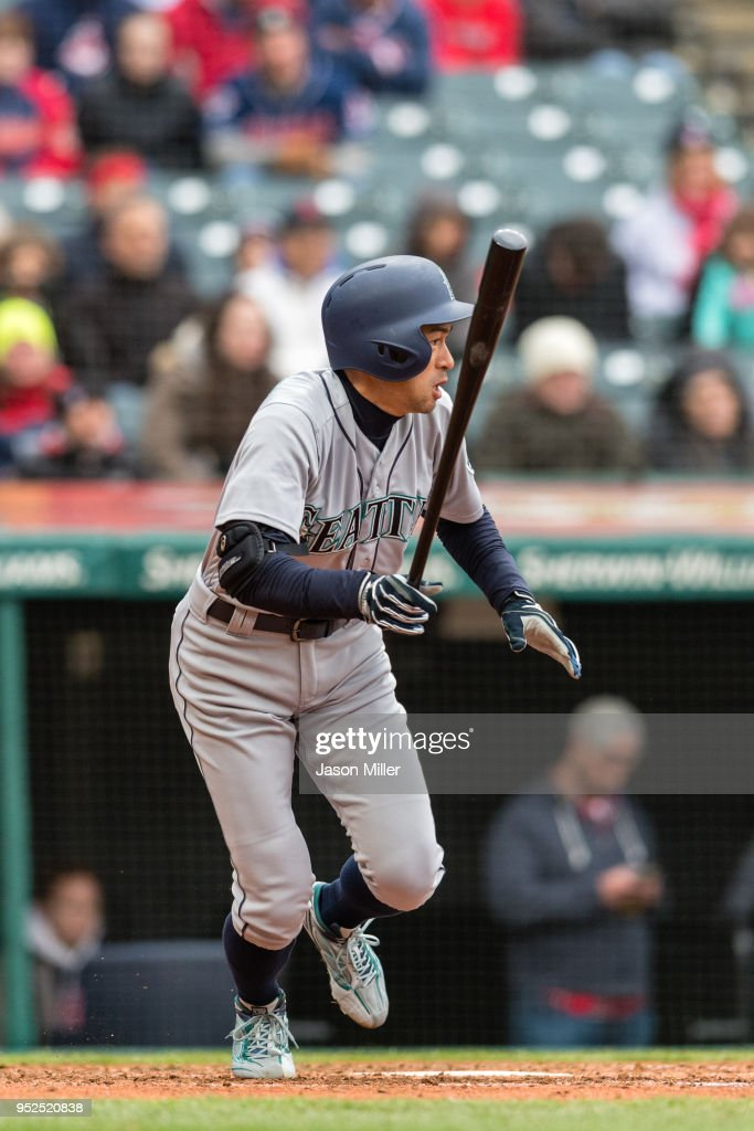 Ichiro Suzuki #51 of the Seattle Mariners runs out a ground ball for an out during the fourth inning against the Cleveland Indians at Progressive Field on April 28, 2018 in Cleveland, Ohio.