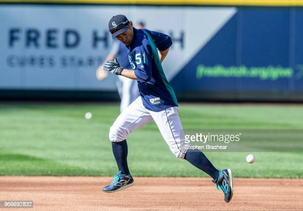 Ichiro Suzuki of the Seattle Mariners runs the bases during batting practice bfore a game against the Oakland Athletics at Safeco Field on May 3 2018...