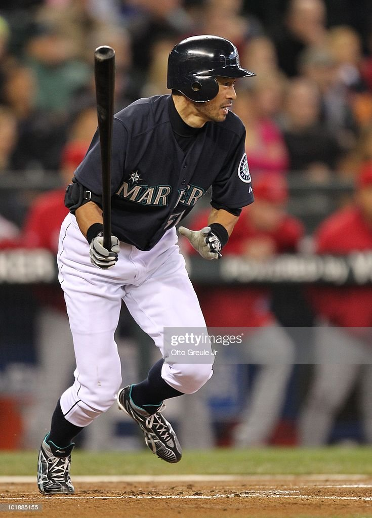 Ichiro Suzuki #51 of the Seattle Mariners singles against the Los Angeles Angels of Anaheim at Safeco Field on June 4, 2010 in Seattle, Washington.