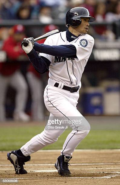 Ichiro Suzuki of the Seattle Mariners singles against the Philadelphia Phillies for hit number 1000 of his career on June 14 2005 at Safeco Field in...