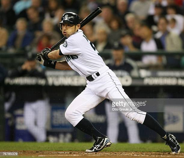 Ichiro Suzuki of the Seattle Mariners singles in the fourth inning against the Tampa Bay Devil Rays on September 16, 2007 at Safeco Field in Seattle,...