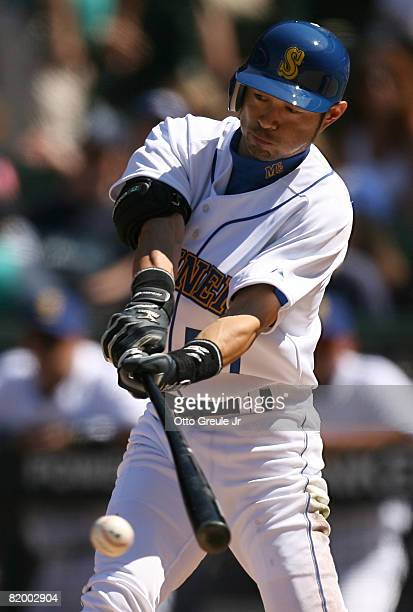 Ichiro Suzuki of the Seattle Mariners singles in the seventh inning against the Cleveland Indians on July 19 2008 at Safeco Field in Seattle...