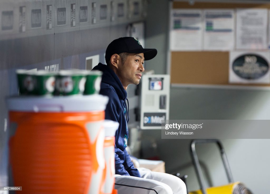 Ichiro Suzuki #51 of the Seattle Mariners sits in the dugout in the sixth inning against the Houston Astros at Safeco Field on April 16, 2018 in Seattle, Washington. The Seattle Mariners beat the Houston Astros 2-1.