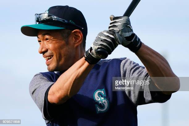 Ichiro Suzuki of the Seattle Mariners smiles during a spring training on March 8 2018 in Peoria Arizona