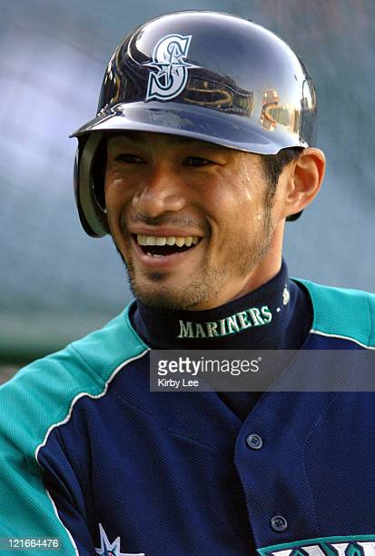 Ichiro Suzuki of the Seattle Mariners smiles during batting practice before game against the Los Angeles Angels of Anaheim at Angel Stadium in...