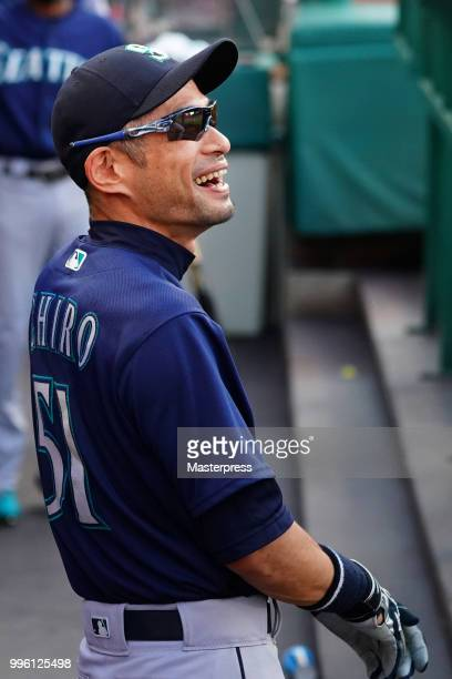 Ichiro Suzuki of the Seattle Mariners smiles during the MLB game against the Los Angeles Angels at Angel Stadium on July 10 2018 in Anaheim California