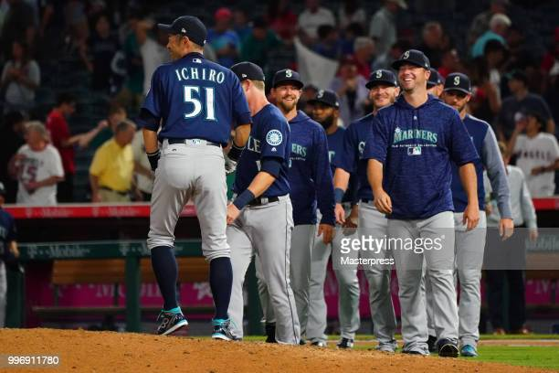 Ichiro Suzuki of the Seattle Mariners smiles during the MLB game against the Los Angeles Angels at Angel Stadium on July 11 2018 in Anaheim California
