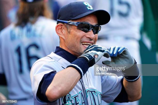 Ichiro Suzuki of the Seattle Mariners smiles during the MLB game against the Los Angeles Angels at Angel Stadium on July 12 2018 in Anaheim California