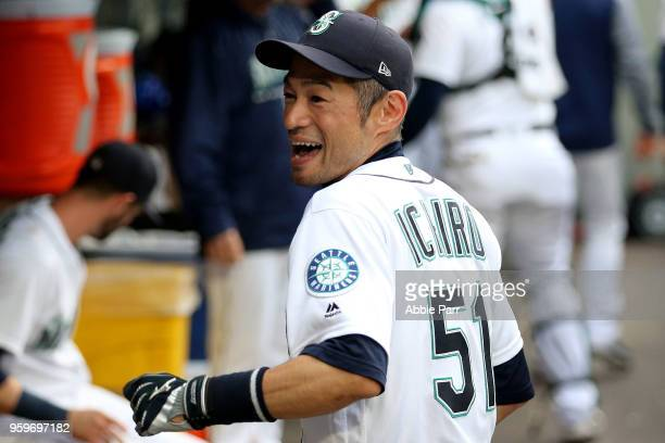 Ichiro Suzuki of the Seattle Mariners smiles in the dugout prior to taking on the Detroit Tigers during their game at Safeco Field on May 17 2018 in...