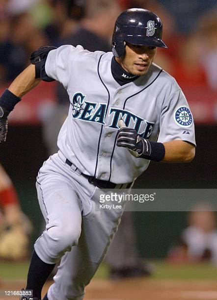 Ichiro Suzuki of the Seattle Mariners sprints toward first base on a fifthinning single during 97 loss to the Los Angeles Angels of Anaheim at Angel...