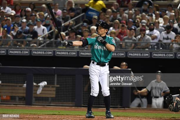Ichiro Suzuki of the Seattle Mariners stands at bat during the first inning of the spring training game against the Chicago White Sox at Peoria...