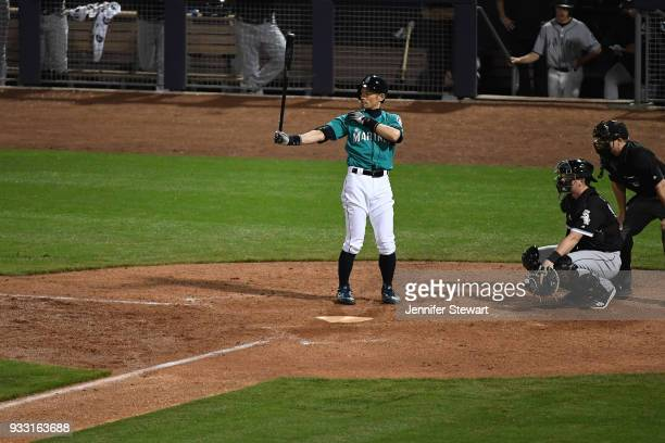 Ichiro Suzuki of the Seattle Mariners stands at bat in the sixth inning of the spring training game against the Chicago White Sox at Peoria Sports...