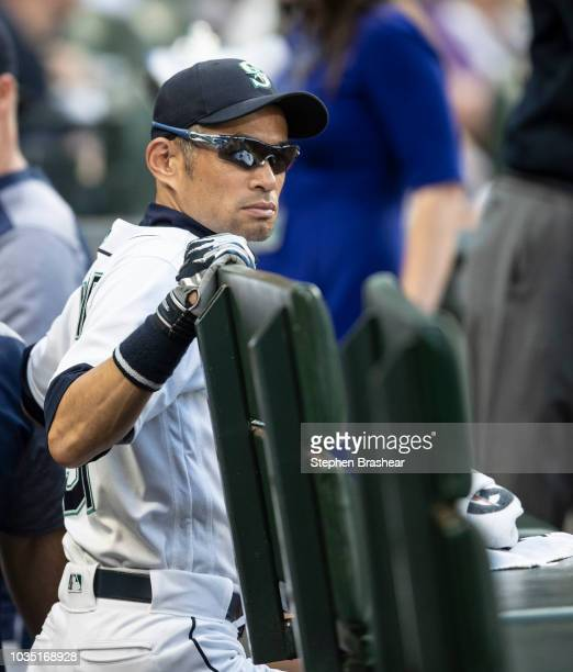 Ichiro Suzuki of the Seattle Mariners stands in the dugout before a game against the Baltimore Orioles at Safeco Field on September 5 2018 in Seattle...