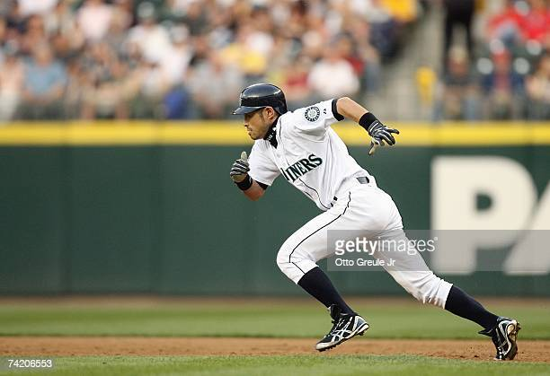 Ichiro Suzuki of the Seattle Mariners steals second base against the Los Angeles Angels of Anahiem on May 15, 2007 at Safeco Field in Seattle,...