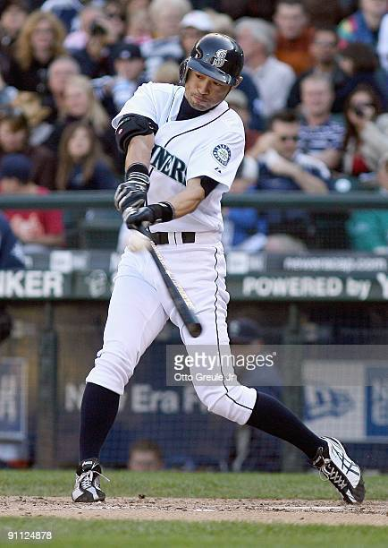 Ichiro Suzuki of the Seattle Mariners swings at the pitch during the game against the New York Yankees on September 20 2009 at Safeco Field in...