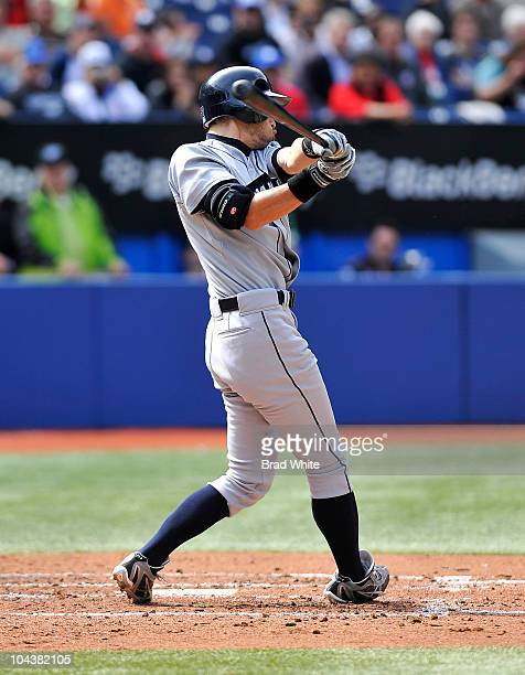 Ichiro Suzuki of the Seattle Mariners swings for his 200th hit of the season during game action against the Toronto Blue Jays September 23 2010 at...