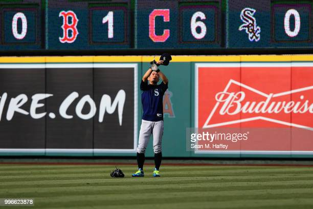 Ichiro Suzuki of the Seattle Mariners takes fly balls prior to a game against the Los Angeles Angels of Anaheim at Angel Stadium on July 11 2018 in...