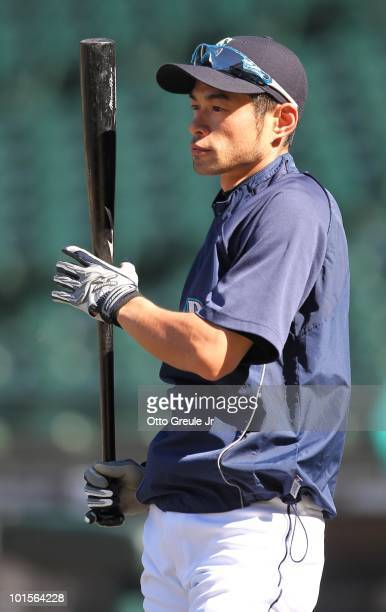 Ichiro Suzuki of the Seattle Mariners waits to hit during batting practice prior to the game against the Minnesota Twins at Safeco Field on May 31...