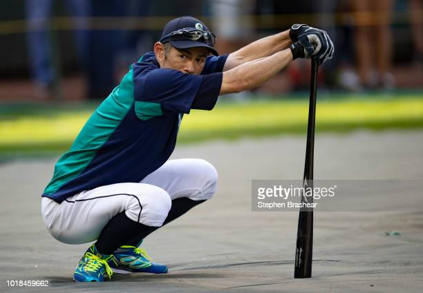 Ichiro Suzuki of the Seattle Mariners waits to take batting practice before a game against the Los Angeles Dodgers at Safeco Field on August 17 2018...