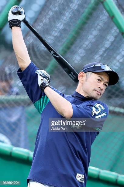 Ichiro Suzuki of the Seattle Mariners warms up during batting practice prior to taking on the Los Angeles Angels at Safeco Field on May 4 2018 in...