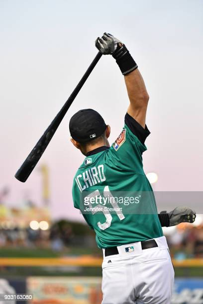 Ichiro Suzuki of the Seattle Mariners warms up for the spring training game against the Chicago White Sox at Peoria Sports Complex on March 12 2018...