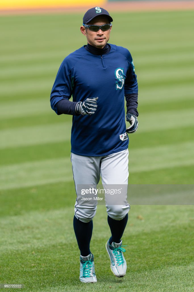 Ichiro Suzuki #51 of the Seattle Mariners warms up prior to the game against the Cleveland Indians at Progressive Field on April 29, 2018 in Cleveland, Ohio.