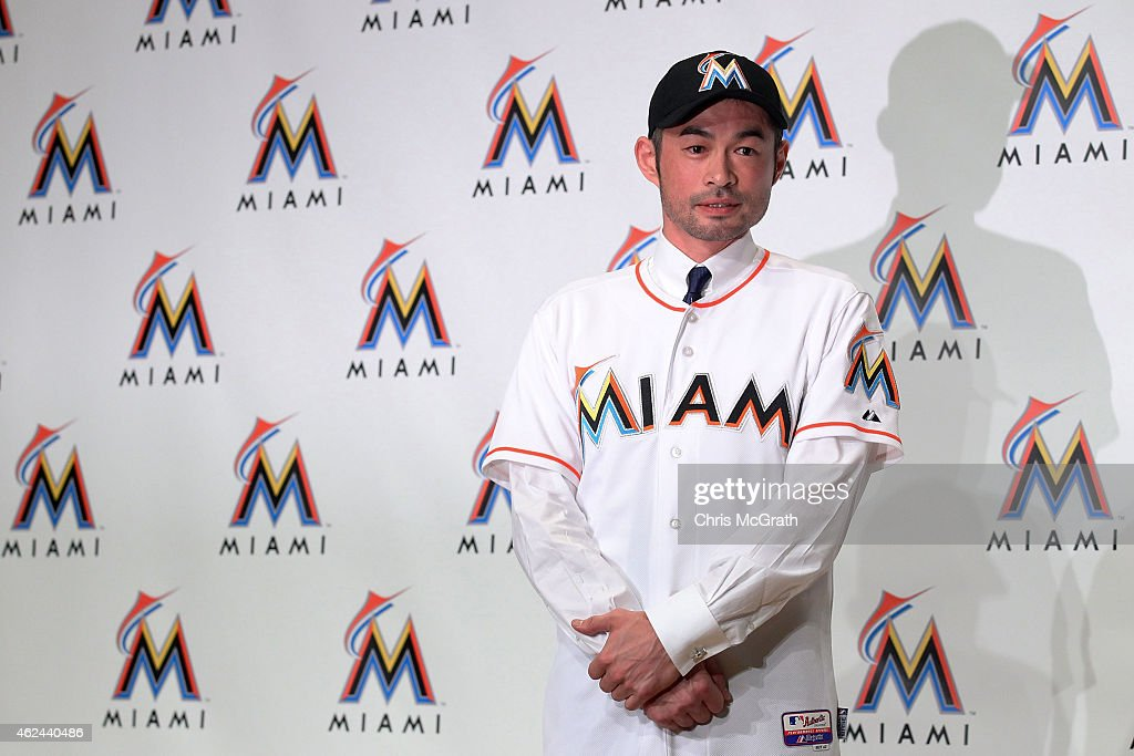 Ichiro Suzuki poses for photographers wearing a Miami Marlins uniform during the press conference at the Capitol Hotel Tokyu on January 29, 2015 in Tokyo, Japan. Ichiro Suzuki, a 41-year-old outfielder with nearly 3,000 hits, has finalized a $2-million, one-year contract with the Miami Marlins.