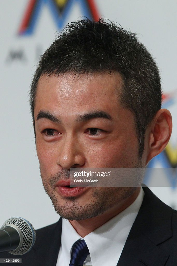 Ichiro Suzuki speaks to the media during a press conference at the Capitol Hotel Tokyu on January 29, 2015 in Tokyo, Japan. Ichiro Suzuki, a 41-year-old outfielder with nearly 3,000 hits, has finalized a $2-million, one-year contract with the Miami Marlins.